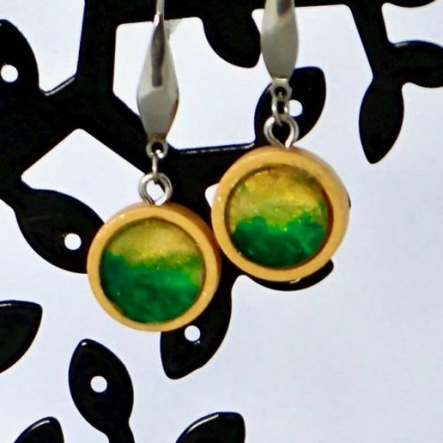green hills encaustic art earrings