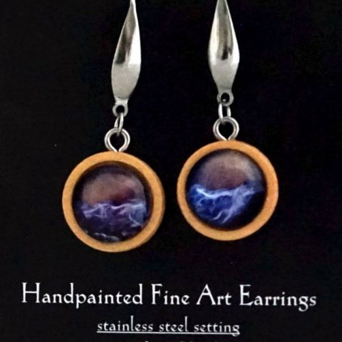 encaustic earrings in bamboo