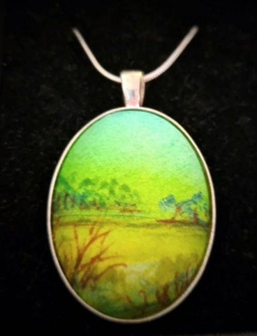 Fine art original silk painting pendant